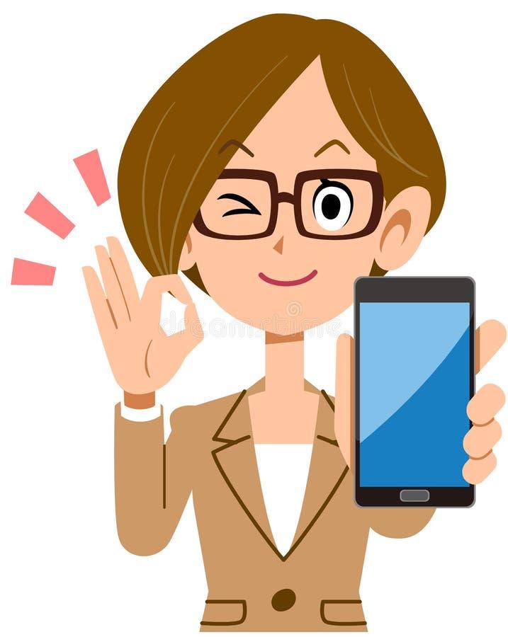 Affärskvinna som rymmer en smartphone och ut sätter ett reko tecken vektor illustrationer