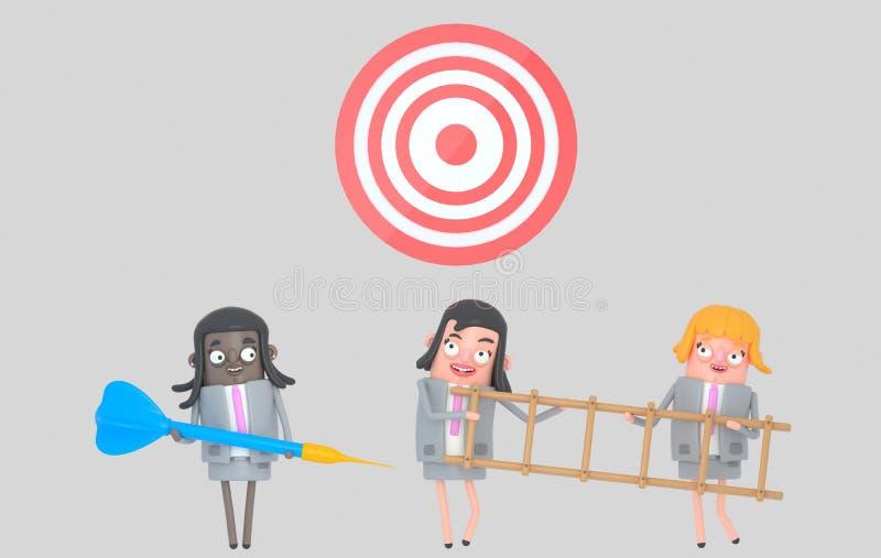 Affärskvinna som rymmer en stor blå pil stege dartboard isolerat stock illustrationer