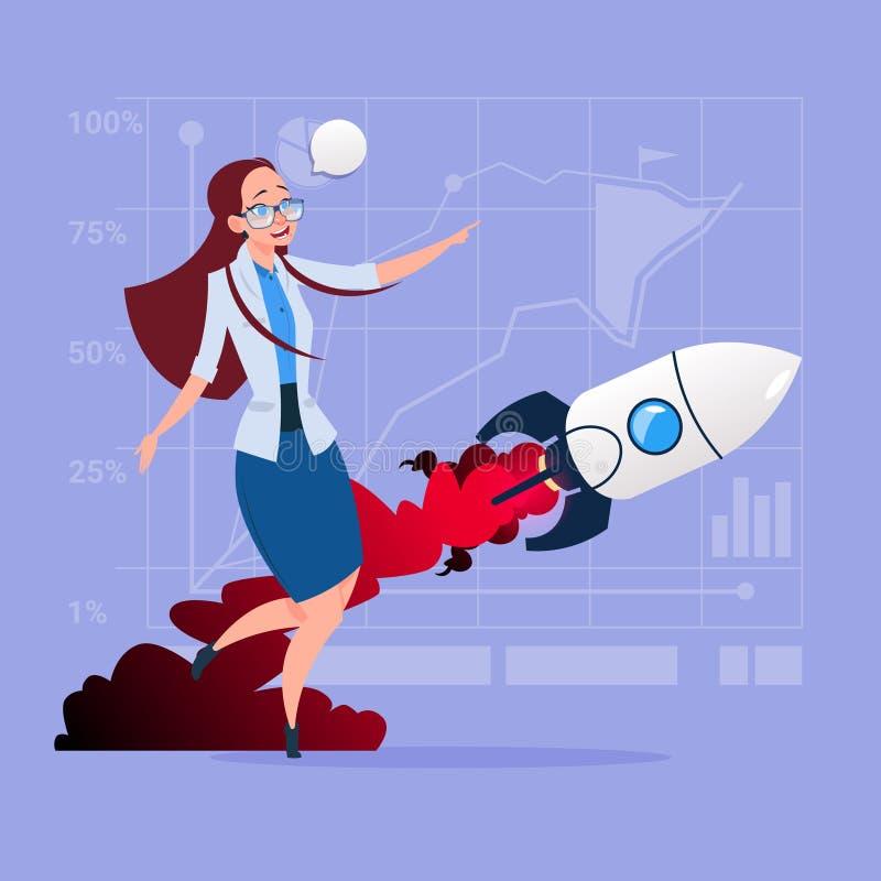 Affärskvinna som ser flyga Rocket New Startup Strategy Concept royaltyfri illustrationer
