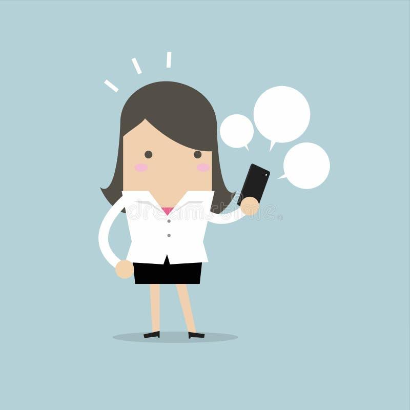 Affärskvinna som ser på hennes smarta telefon royaltyfri illustrationer