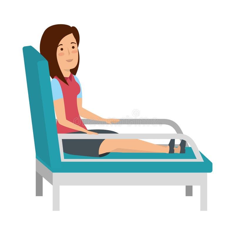 Affärskvinna som sitter i psykiaterstol stock illustrationer