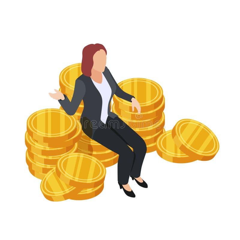 Affärskvinna som sitter på den isometriska vektorn för guld- mynt Dollardrottning som isoleras på vit bakgrund royaltyfri illustrationer