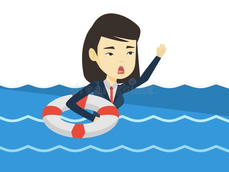 Affärskvinna som sjunker och frågar för hjälp stock illustrationer