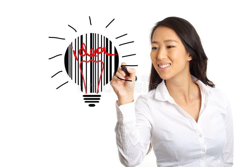 Affärskvinna som skissar idébegrepp royaltyfri bild