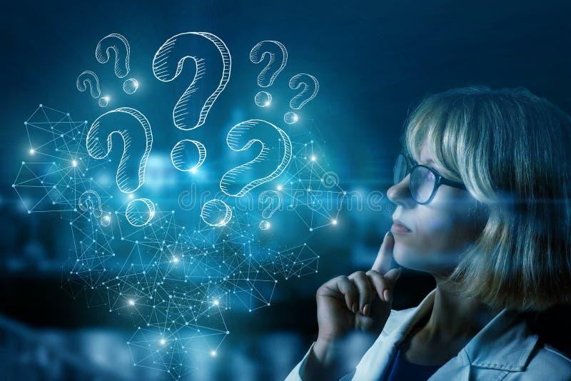 Affärskvinna som tänker över frågor som uppstår royaltyfri illustrationer