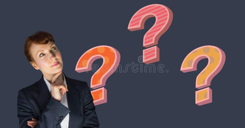 Affärskvinna som tänker med färgrika skraj frågefläckar stock illustrationer