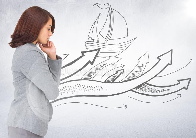 Affärskvinna som tänker mot fartygklotter och vitbakgrund med signalljuset royaltyfria bilder