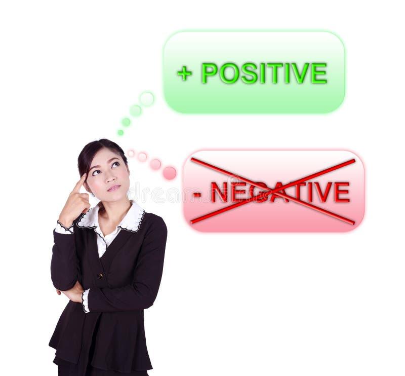 Affärskvinna som tänker om positivt tänka royaltyfria foton