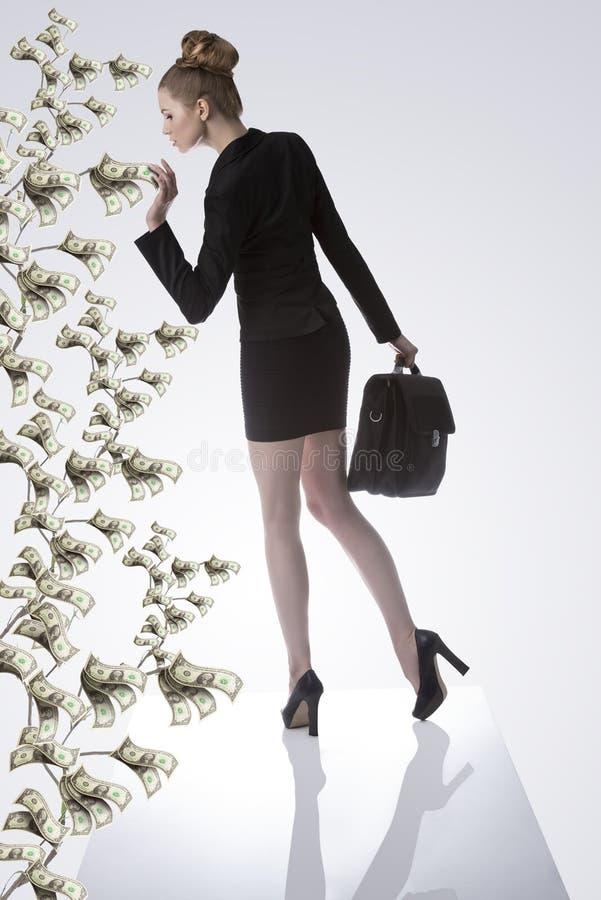 Affärskvinna som tar en dollar från pengarväxten fotografering för bildbyråer