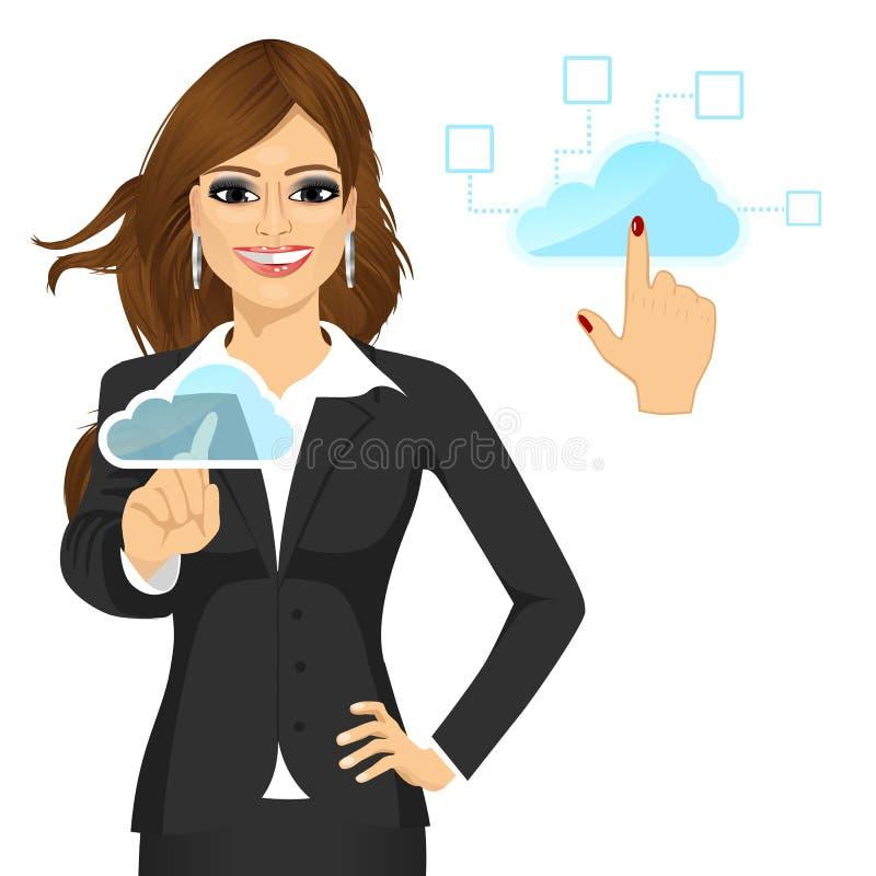 Affärskvinna som trycker på molnet stock illustrationer