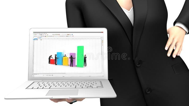 Affärskvinna som visar en bärbar dator med en räknearkapplikation royaltyfri illustrationer