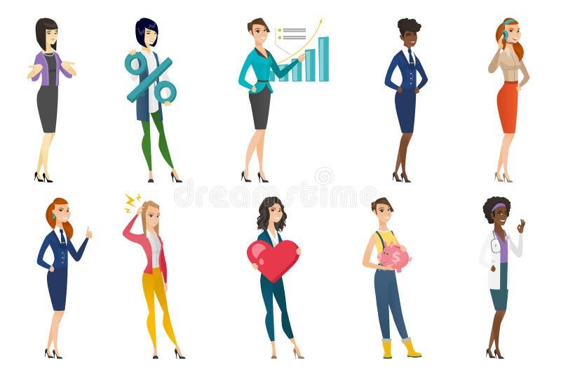 Affärskvinna, stewardess, doktorsyrkeuppsättning stock illustrationer