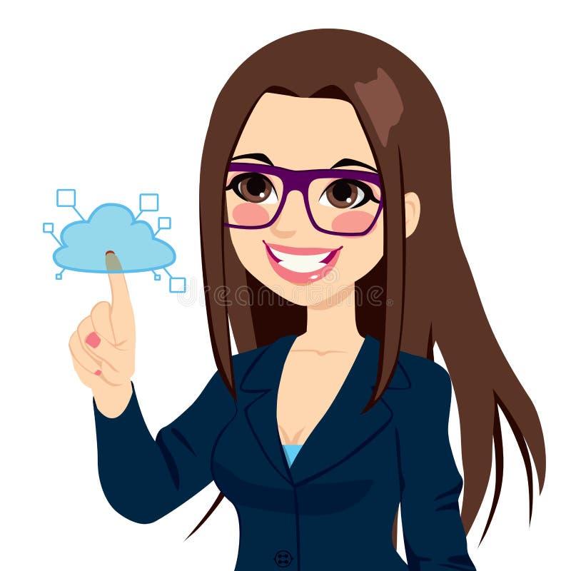 Affärskvinna Touching Cloud Computing royaltyfri illustrationer