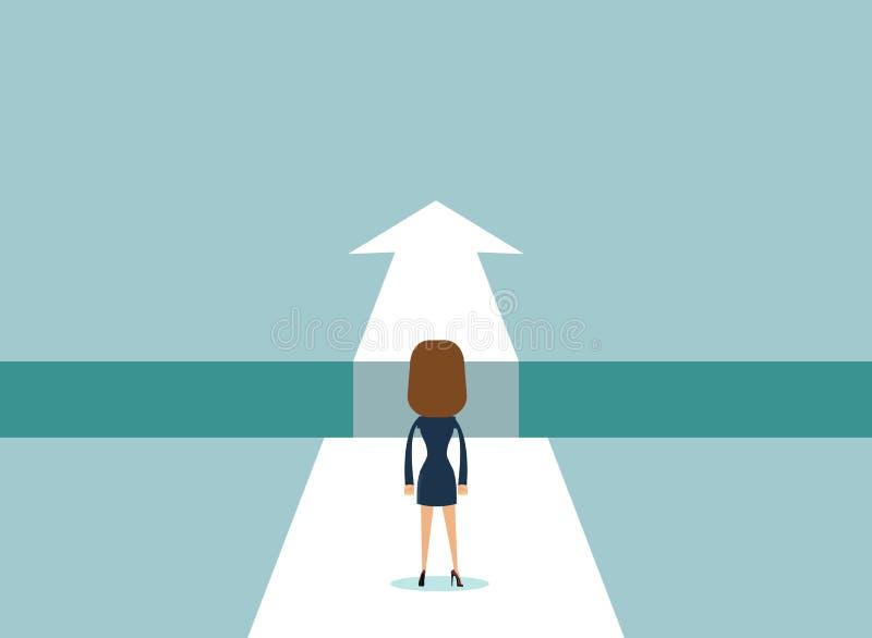 Affärskvinnaanseende på kanten av mellanrummet stock illustrationer
