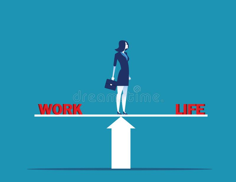 Affärskvinnaanseendet på skala i ord arbetar och liv Illustration f?r begreppsaff?rsvektor stock illustrationer