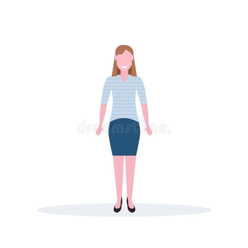 Affärskvinnaanseendet poserar den lyckliga bruna längden för teckenet för tecknade filmen för arbetaren för hårkvinnakontoret som royaltyfri illustrationer