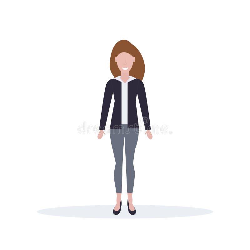 Affärskvinnaanseendet poserar den lyckliga bruna längden för teckenet för tecknade filmen för arbetaren för hårkvinnakontoret som vektor illustrationer