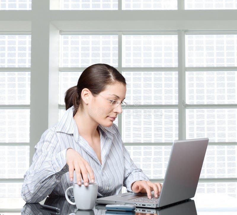 affärskvinnabärbar dator arkivfoto