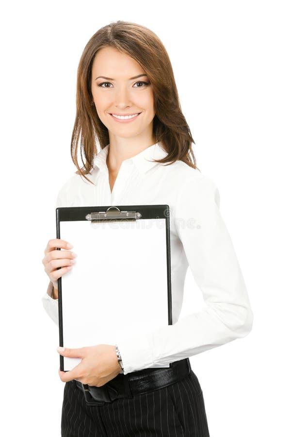 affärskvinnaclipboard arkivfoton
