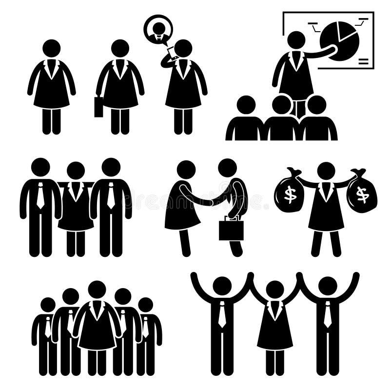 AffärskvinnaFemale vd Stick Figure Pictogram Ic royaltyfri illustrationer
