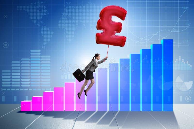 Affärskvinnaflyget på ballongen för tecken för brittiskt pund den uppblåsbara stock illustrationer