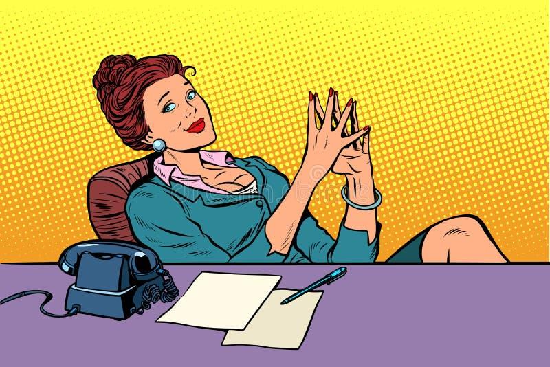 Affärskvinnaframstickandesammanträde på kontorsskrivbordet royaltyfri illustrationer