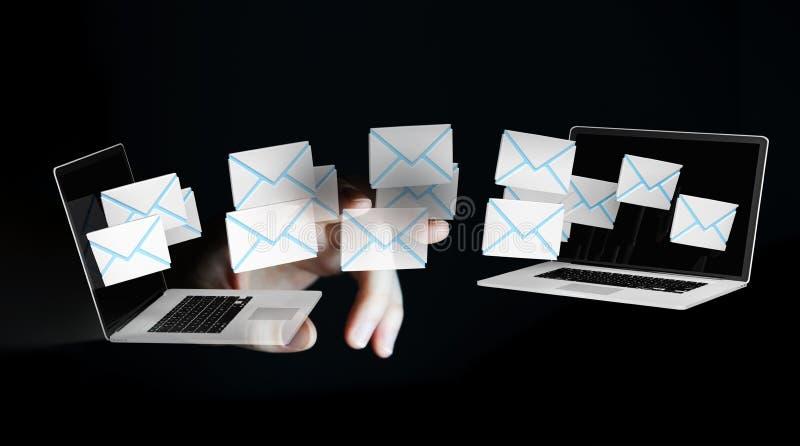 Affärskvinnahälerimejl på hennes digitala apparater 3D framför stock illustrationer