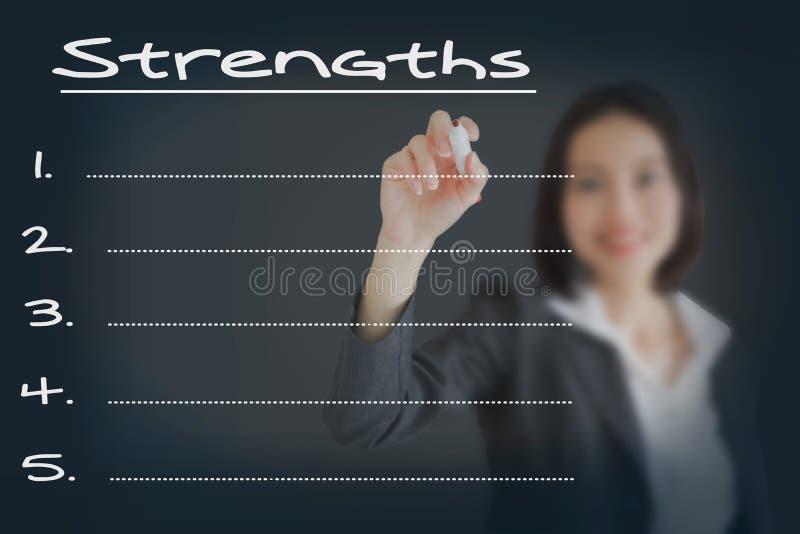 Affärskvinnahandstillista av affärsstyrka arkivfoton