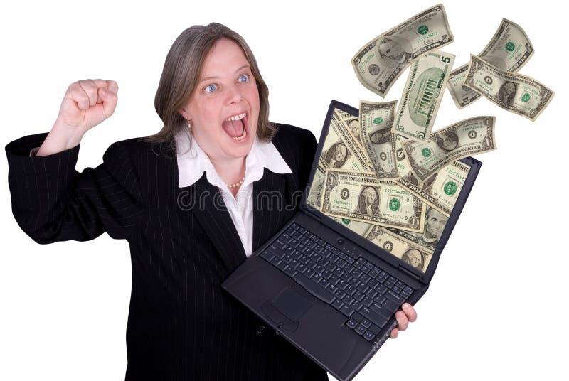 affärskvinnaholdingbärbar dator royaltyfria bilder