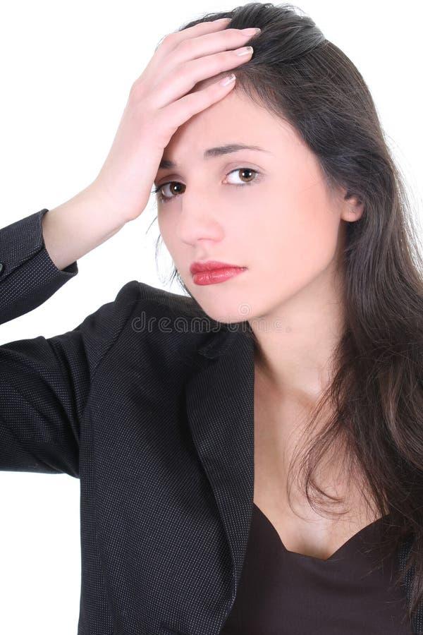 affärskvinnahuvudvärkbarn royaltyfri fotografi