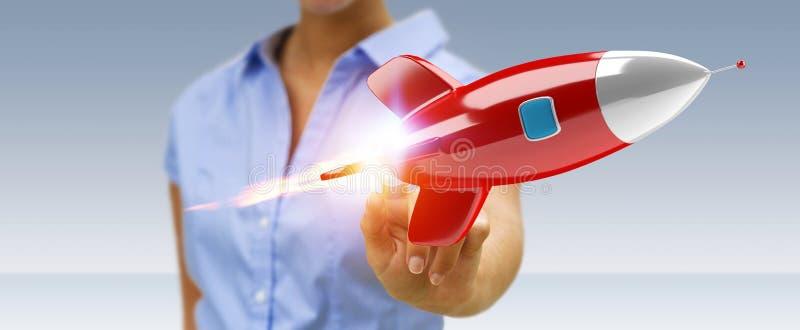 Affärskvinnainnehav och trycka på en tolkning för raket 3D vektor illustrationer