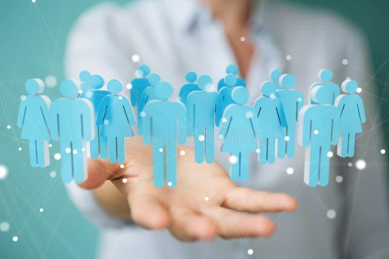 Affärskvinnainnehav och trycka på gruppen för tolkning 3D av blå pe royaltyfri illustrationer