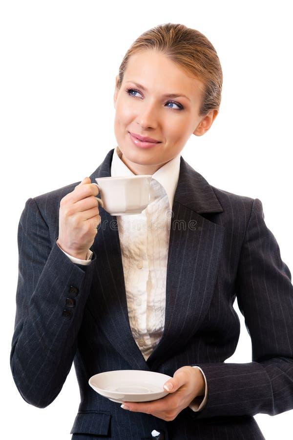 affärskvinnakaffe royaltyfria bilder