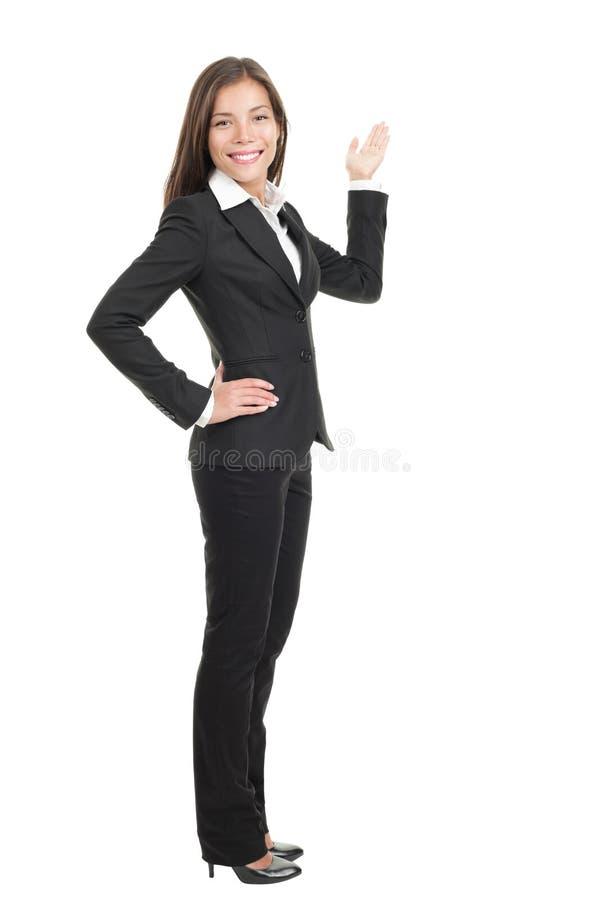 affärskvinnakopia som visar avstånd royaltyfria foton