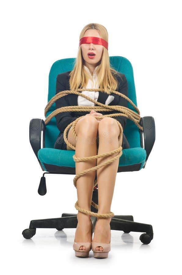 Affärskvinnakvinna som binds upp med repet royaltyfri foto