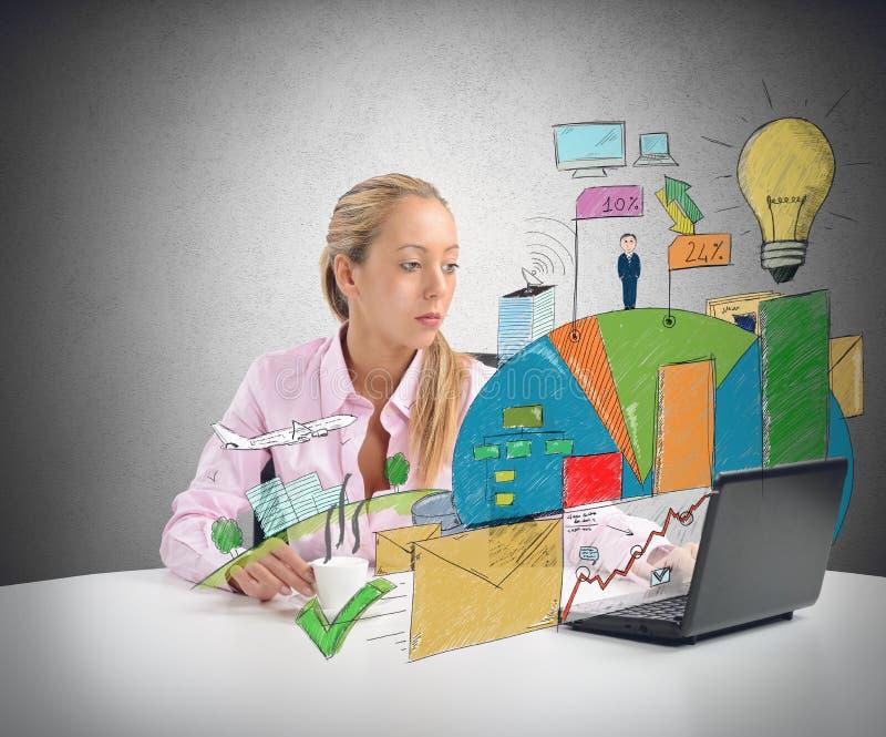 Affärskvinnan analyserar arkivbild