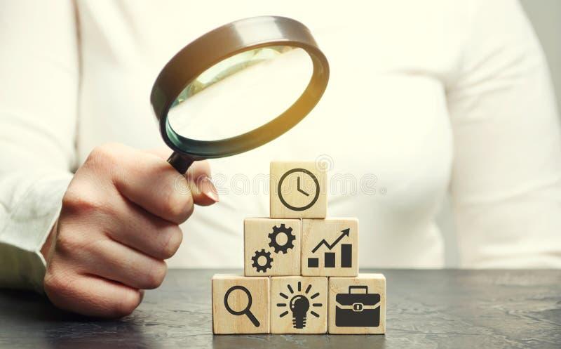 Affärskvinnan analyserar affärsstrategi Företagutveckling Begreppet av framkallning av innovativa teknologier Handlingsplan arkivbild