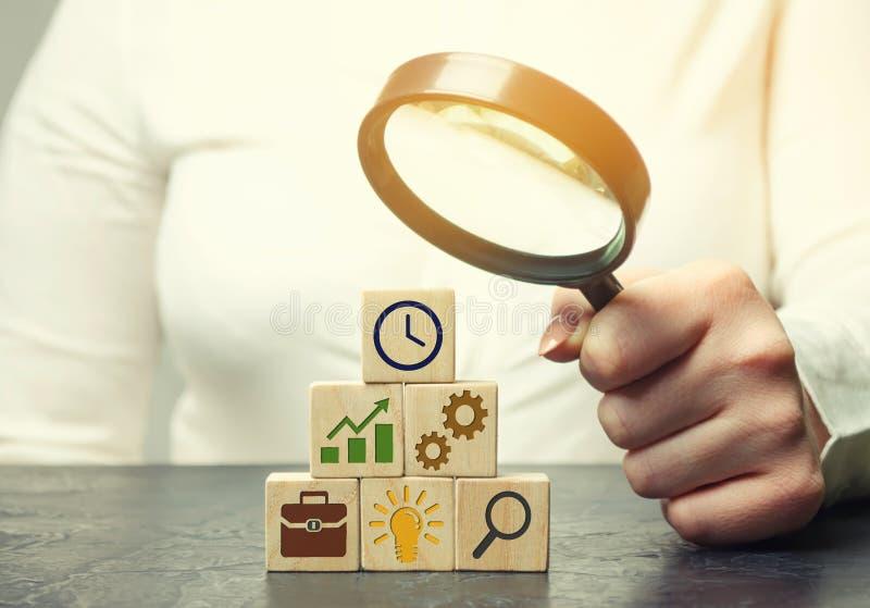 Affärskvinnan analyserar affärsstrategi Företagutveckling Begreppet av framkallning av innovativa teknologier Handlingsplan royaltyfri bild