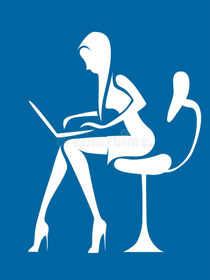 Affärskvinnan arbetar i kontorsanteckningsboken royaltyfri illustrationer