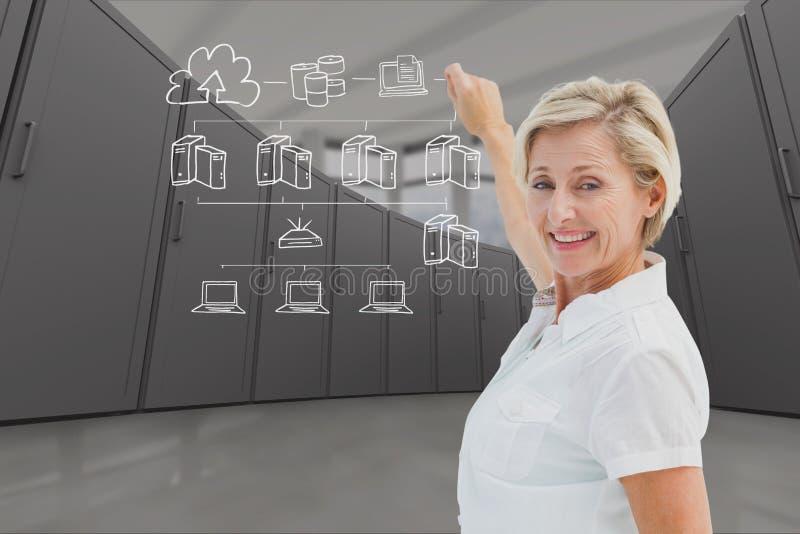 Affärskvinnan drar mot datorhallbakgrund vektor illustrationer