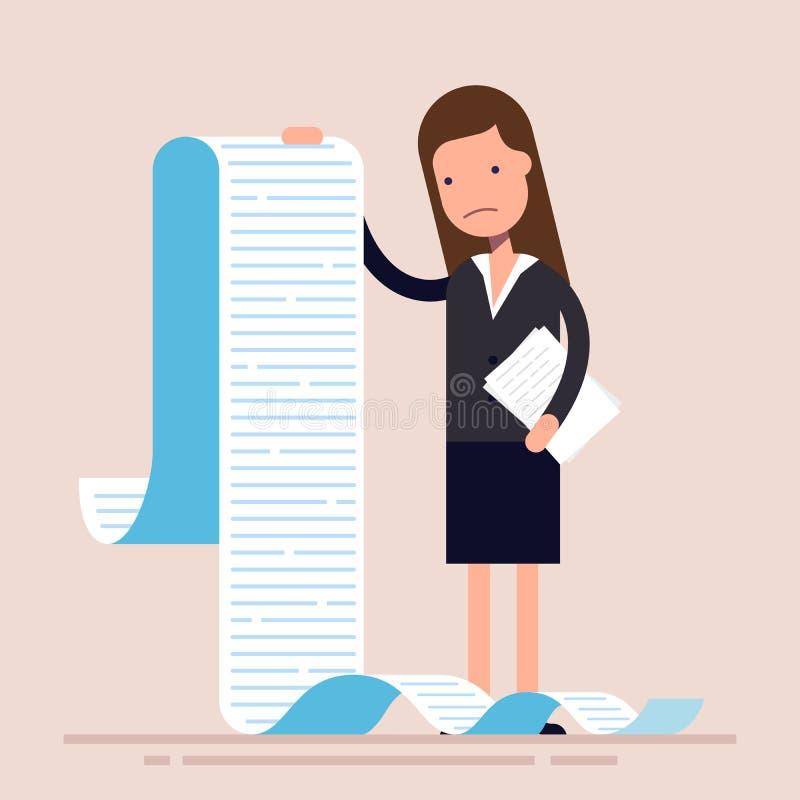 Affärskvinnan eller chefen, rymmer en lång lista eller snirkel av uppgifter eller frågeformulär kvinna för affärsdräkt plant stock illustrationer