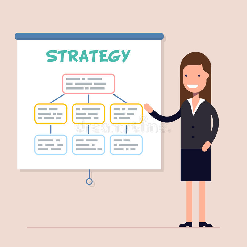 Affärskvinnan eller framstickandet för en utbildning och ett seminarium eller en konferens Affärsstrategi och finans Plan vektor royaltyfri illustrationer