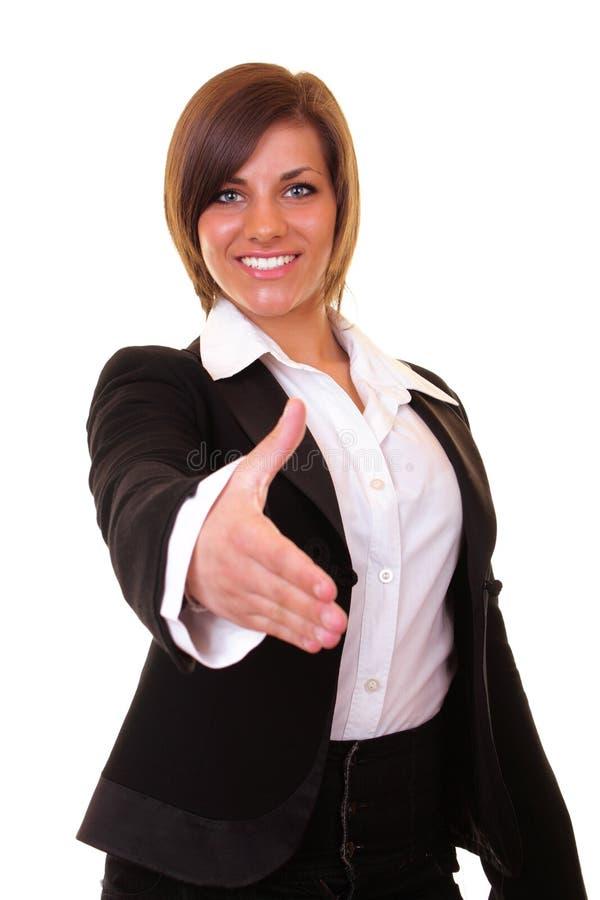 affärskvinnan hands klar shake till arkivbilder
