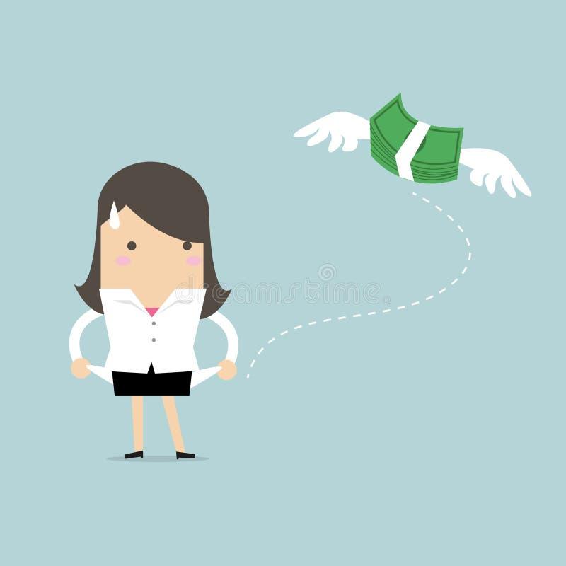 Affärskvinnan har inga pengar royaltyfri illustrationer
