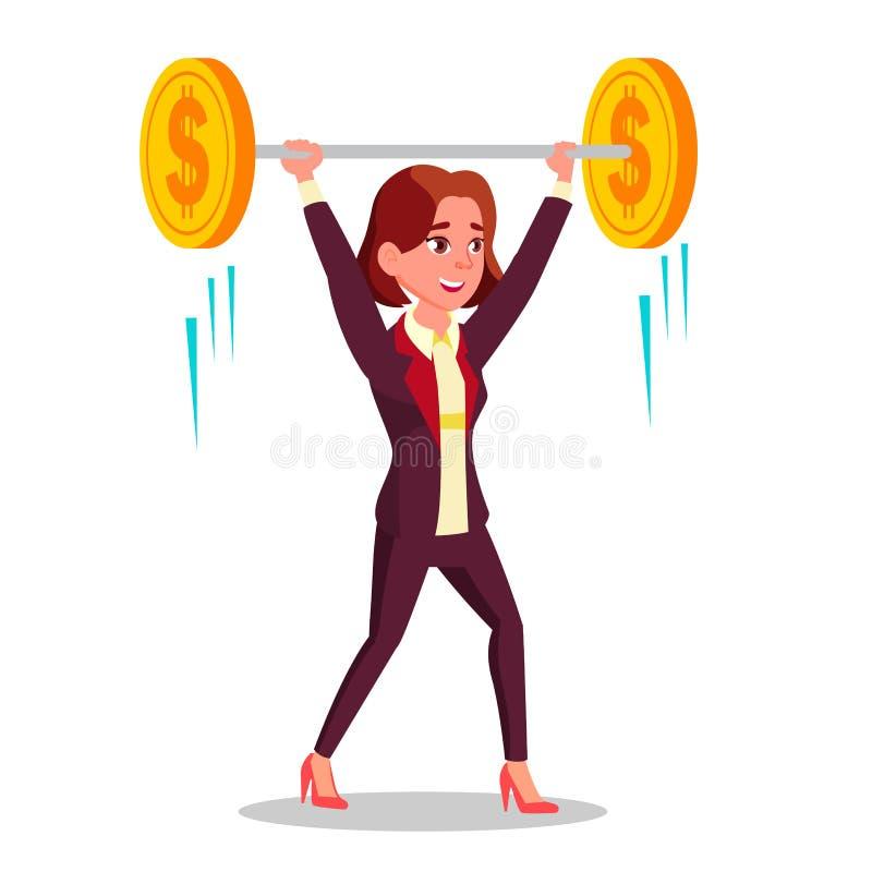 Affärskvinnan Holding Barbell With myntar den plana tecknad filmillustrationen för den över huvudet vektorn stock illustrationer