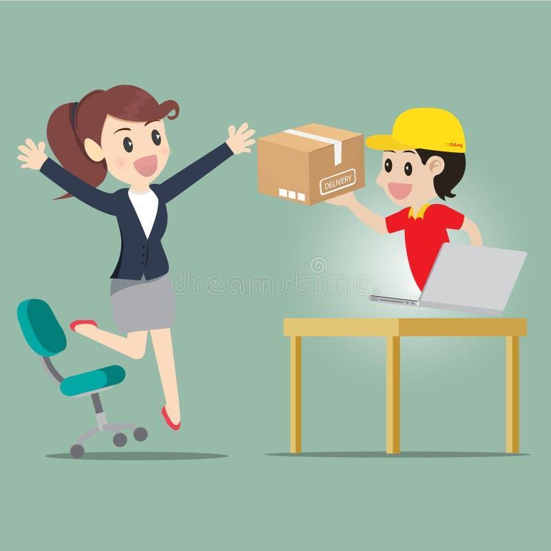 Affärskvinnan hoppar för snäll shopping direktanslutet royaltyfri illustrationer