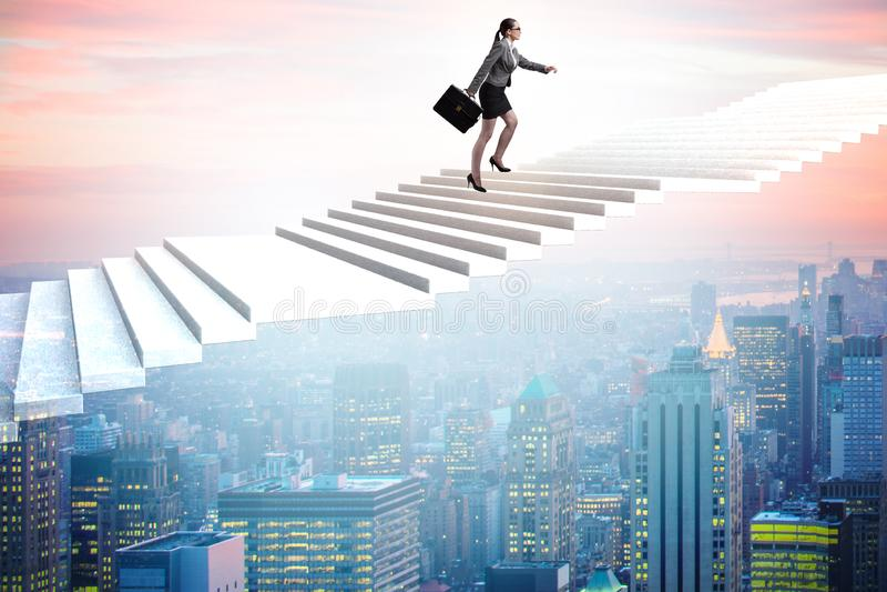 Affärskvinnan i ambition- och beslutsamhetbegrepp arkivbilder