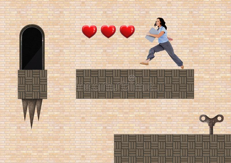 Affärskvinnan i dataspelnivå med hjärtor stämmer och fällor vektor illustrationer