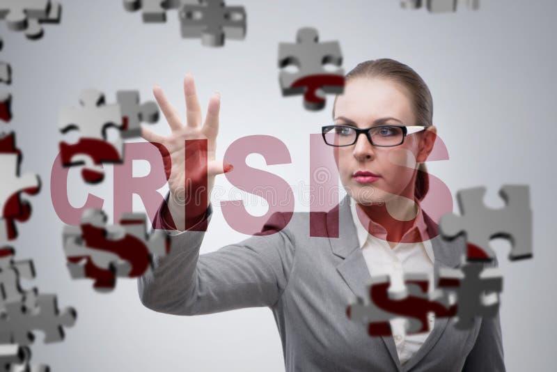 Affärskvinnan i krisaffärsidé royaltyfri fotografi