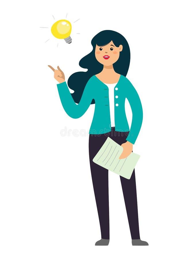 Affärskvinnan kom upp med en idé Vektortecken i tecknad filmstil på vit bakgrund royaltyfri illustrationer